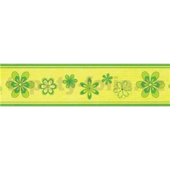 Samolepící bordura květy zelené 5 m x 5 cm