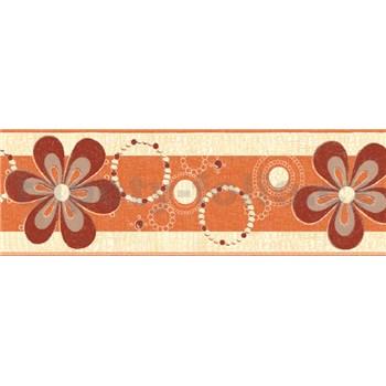 Samolepící bordury květy červeno-okrové 5 m x 6,9 cm