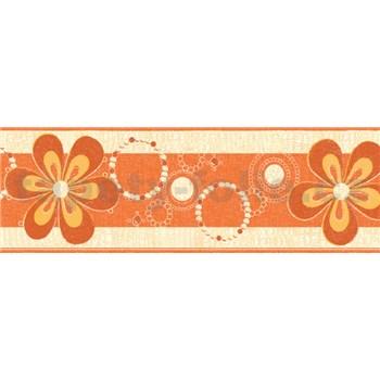 Samolepící bordury květy oranžové 5 m x 6,9 cm