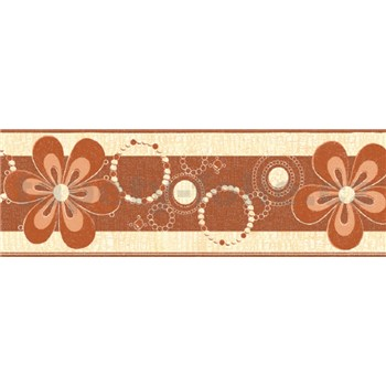Samolepící bordury květy hnědé 5 m x 6,9 cm