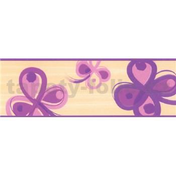 Samolepící bordury čtyřlístek fialový 5 m x 6,9 cm