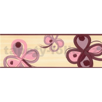 Samolepící bordury čtyřlístek růžovo-hnědý 5 m x 6,9 cm