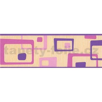 Samolepící bordura abstrakt růžovo-fialový 5 m x 6,9 cm