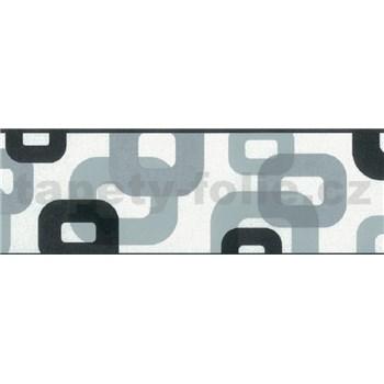 Samolepící bordura 3D černo-stříbrná 5 m x 6,9 cm