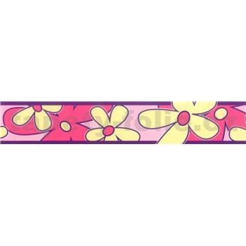 Samolepící bordura - květy růžovo-žluté 5 m x 6,9 cm