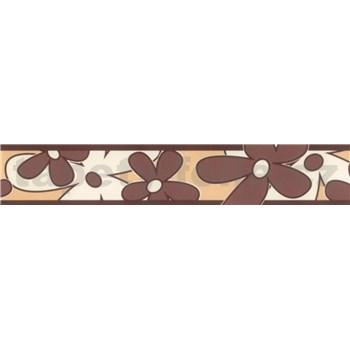 Samolepící bordura - květy hnědé 5 m x 6,9 cm