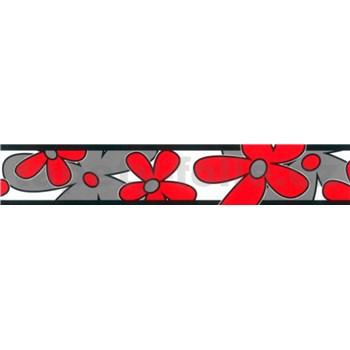 Samolepící bordura - květy červeno-šedé 5 m x 6,9 cm