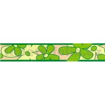 Samolepící bordura - květy zelené 5 m x 6,9 cm