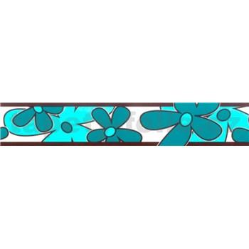 Samolepící bordura - květy tyrkysově zelené 5 m x 6,9 cm