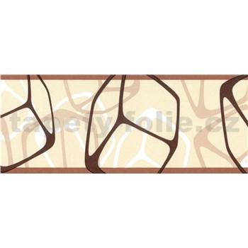 Samolepící bordury čtverce hnědé 5 m x 6,9 cm