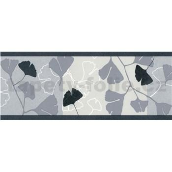 Samolepící bordury ginkgo listy šedo-černé 5 m x 6,9 cm