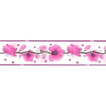 Samolepící bordura - orchidej růžová 5 m x 6,9 cm
