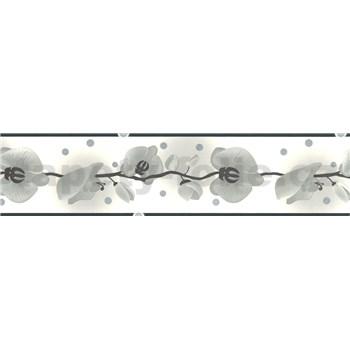 Samolepící bordura - orchidej šedá 5 m x 6,9 cm