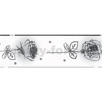 Samolepící bordura - růže černo-bílé 5 m x 6,9 cm