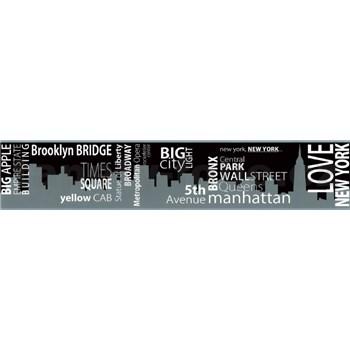 Samolepící bordura New York černo-šedá 5 m x 9,6 cm