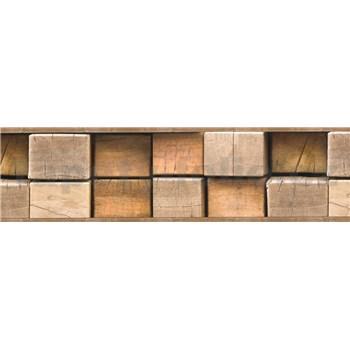 Samolepící bordura dřevěné špalky hnědé 5 m x 8,3 cm