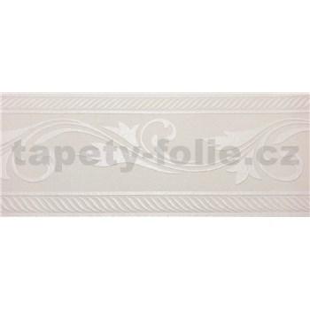 Vliesové přetíratelné bordury ornamenty bílé rozměr 10,00 m x 17,7 cm