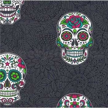 Vliesové tapety na zeď Boys & Girls lebky barevné na černém podkladu