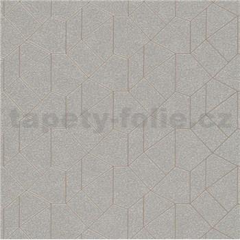 Vliesové tapety IMPOL Carat 2 geometrický vzor stříbrný se hnědými konturami