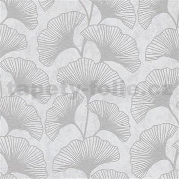 Vliesové tapety IMPOL Carat 2 listy ginkgo šedé na krémovém podkladu