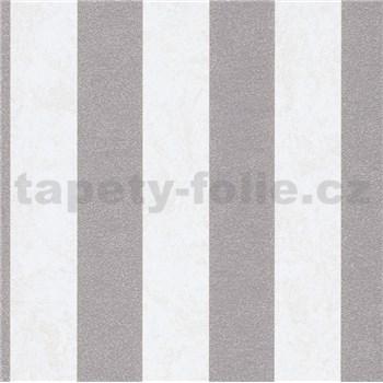 Vliesové tapety IMPOL Carat 2 pruhy stříbrno-krémové