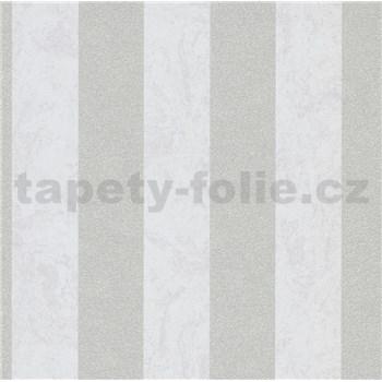 Vliesové tapety IMPOL Carat 2 pruhy stříbrno-bílé