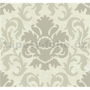 Vliesové tapety na zeď Carat zámecký vzor stříbrný na světle hnědém podkladu