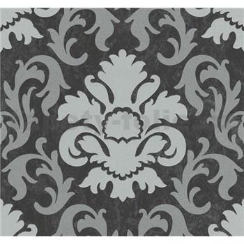 Vliesové tapety na zeď Carat zámecký vzor stříbrný na černém podkladu - POSLEDNÍ KUSY