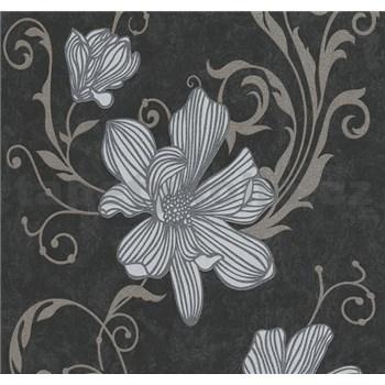 Vliesové tapety na zeď Carat květy stříbrné na černém podkladu - POSLEDNÍ KUSY