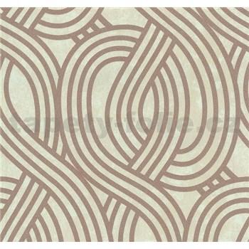 Vliesové tapety na zeď Carat moderní vzor měděný na světle hnědém podkladu