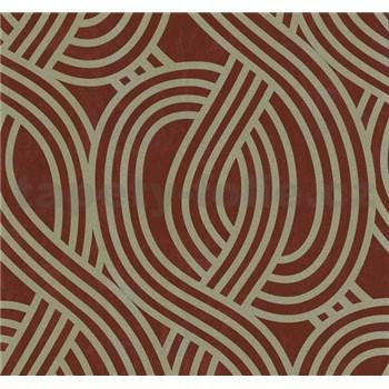 Vliesové tapety na zeď Carat moderní vzor zlatý na červeném podkladu - POSLEDNÍ KUSY