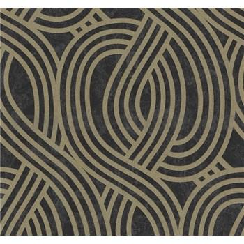 Vliesové tapety na zeď Carat moderní vzor bronzový na černém podkladu