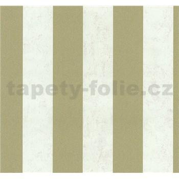 Vliesové tapety na zeď Carat pruhy světle zlaté a bílé
