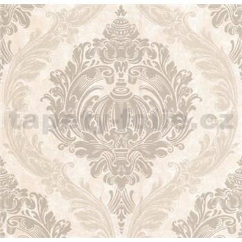 Luxusní vliesové tapety na zeď CARAT ornamentální zámecký vzor světle hnědý s třpytkami AKCE