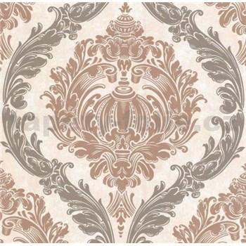 Luxusní vliesové tapety na zeď CARAT ornamentální zámecký vzor hnědý s třpytkami
