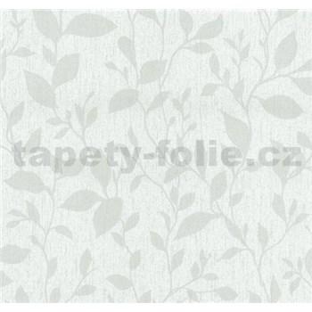 Vliesové tapety na zeď Casual Chic lístečky světle šedé - POSLEDNÍ KUSY
