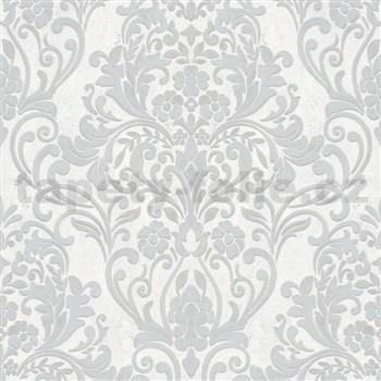 Vliesové tapety IMPOL City Glam zámecký vzor stříbrný s metalickým odleskem na světle šedém podkladu