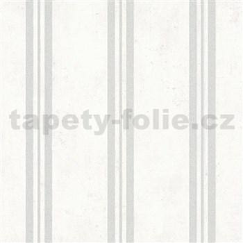 Vliesové tapety IMPOL City Glam beton bílý s pruhy s třpytkami