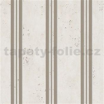 Vliesové tapety IMPOL City Glam beton béžový se zlatými pruhy s třpytkami