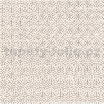 Vliesové tapety na zeď IMPOL Code Nature malé ornamenty niklové na hnědém podkladu