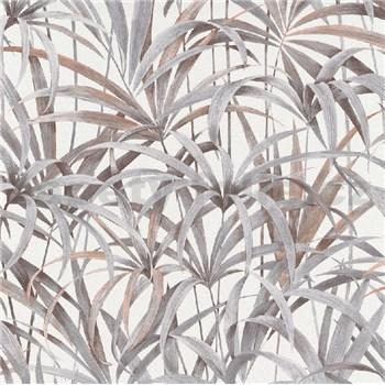 Vliesové tapety na zeď IMPOL Code Nature listy šedo-hnědé na bílém podkladu