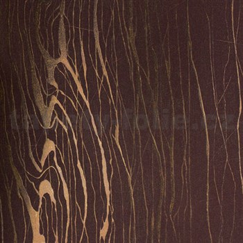 Vliesové tapety na zeď Colani Visions dřevo moderní fialové s měděnými konturami