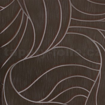 Vliesové tapety na zeď Colani Visions abstraktní listy hnědo-zelené se stříbrnou konturou