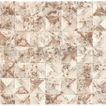 Vliesové tapety na zeď Collage 3D hnědé čtverce s patinou - POSLEDNÍ KUSY