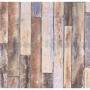Vliesové tapety na zeď Collage dřevěná stěna hnědo-modrá - POSLEDNÍ KUSY