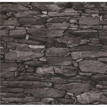 Vliesové tapety na zeď Collage kámenná zeď šedo-černá