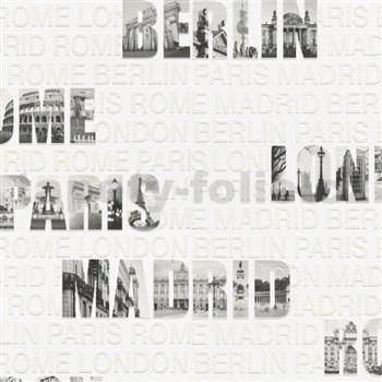 Vliesové tapety na zeď Collection 2 nápisy měst černo-bílé