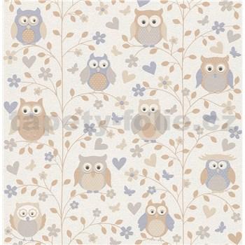 Vliesové tapety na zeď Collection 2 sovy hnědo-modré