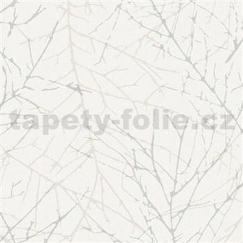 Vliesové tapety na zeď Collection metalické větvičky šedé