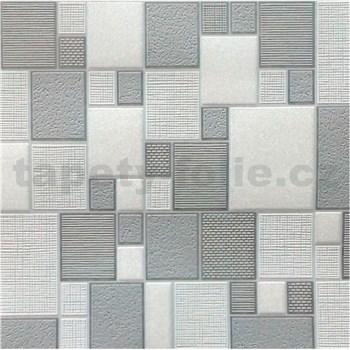 Vinylové tapety na zeď Collection kostky šedé/bílé/stříbrné
